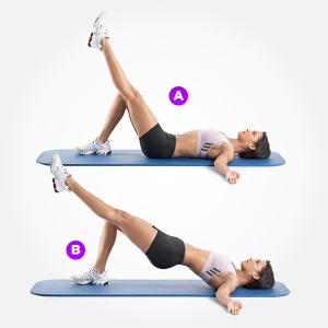 Targets the glutes, core, low back ,hamstrings and lumbo pelvic stabilization.